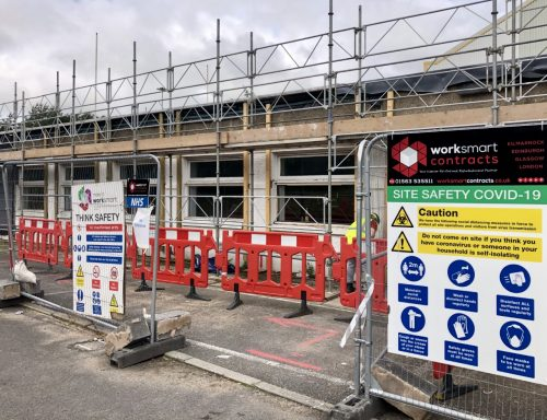 Glenfield Office Refurbishment by Worksmart Contracts with COVID signage